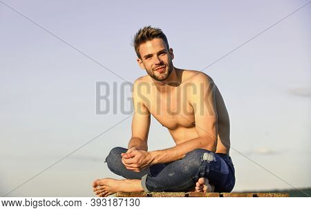 Sexy Pensive Man Relaxing Outdoors. Male Beauty. Fashion Guy. Attractive And Mysterious. Muscular Ba