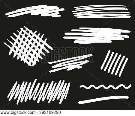 Abstract Scrawls. Hand Drawn Underlines. Black And White Illustration