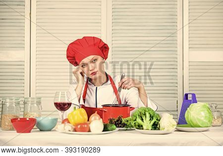 Enjoy Easy Ideas For Dinner. Woman Enjoy Cooking Food. Housekeeping And Culinary. Housewife Prepare