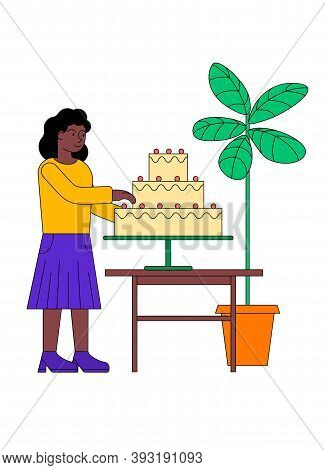 Woman Confectioner Cooking Big Cake. Concept Of Hobby, Leisure And Entertainment. Cartoon Flat Vecto