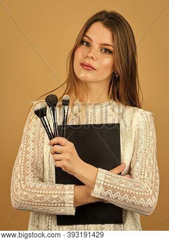 Eyeshadows Glowing Palette. Professional Tools. Makeup Artist Concept. Looking Good. Makeup Supplies