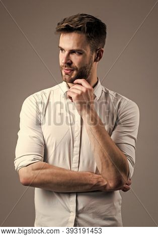 Young Expertise. Handsome Man Wear White Shirt. Unshaven Guy In Casual Style. Male Hairdresser And B