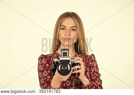 She Real Professional. Professional Skilled Female Photographer. Happy Girl Make Photo With Old Fash