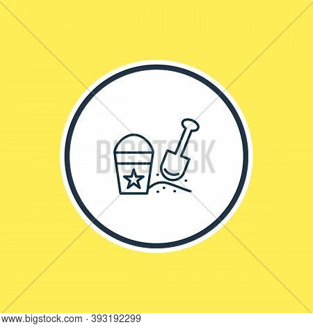 Vector Illustration Of Sand Pail With Shovel Icon Line. Beautiful Child Element Also Can Be Used As