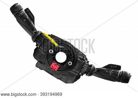 Steering Wheel Switches For Windshield Wipers And Turn Signals Disassembled On A White