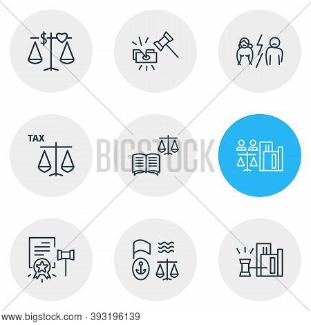 Illustration Of 9 Law Icons Line Style. Editable Set Of Tax Law, Law Book, Real Estate Law And Other