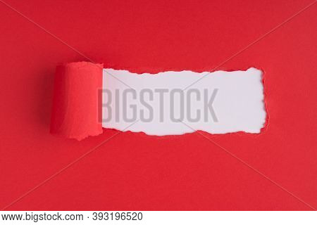 Top Above Overhead View Photo Of Torn Red Paper Over White Background With Copyspace
