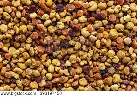 Macro Shot Of Bee Pollen Or Perga.raw Brown, Yellow, Orange And Blue Flower Pollen Grains Or Bee Bre