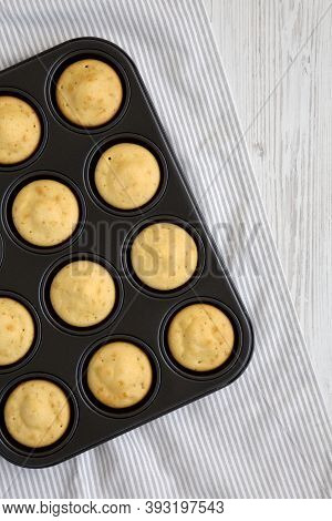 Homemade Cornbread Muffins, Overhead View. Flat Lay, Top View, From Above.