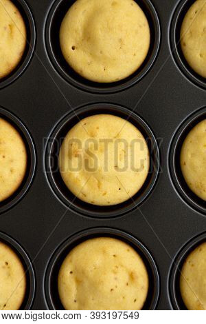 Homemade Cornbread Muffins, Top View. Flat Lay, Overhead, From Above.
