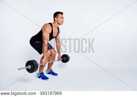 Full Length Body Size View Of His He Nice Attractive Content Sportive Strong Focused Dedicated Guy D