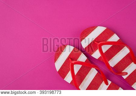 Top Above Overhead View Photo Of A Pair Of Flipflops Isolated On Pink Background