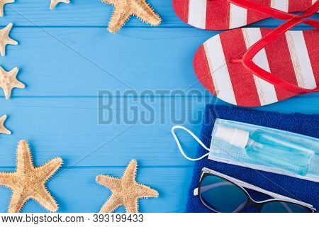 Summer Vacation And Quarantine Concept. Top Above Overhead View Close-up Photo Of Towel Sunglass Sta