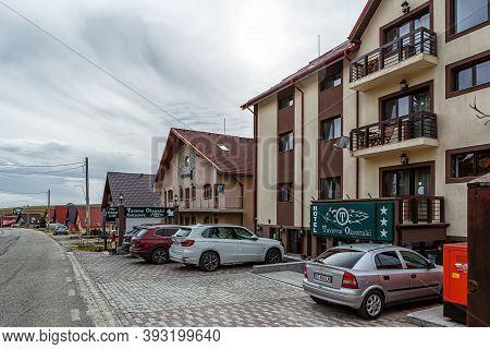 Transalpina,  Romania - October 24, 2020:  Cottages In The Mountain Resort Ranca On October 24, 2020