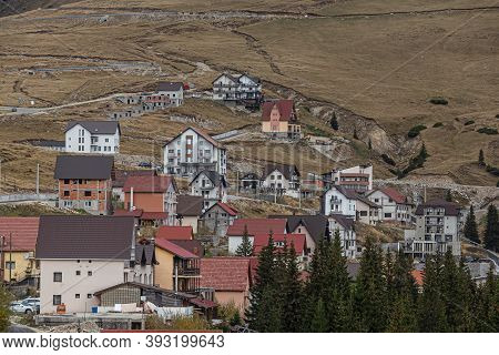 Transalpina,  Romania - October 24, 2020:  Cottages In The Mountain Resort Ranca On October 24, 2020