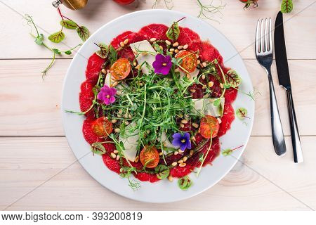 Carpaccio From Meat With Vegetables, Beef Carpaccio With Micro-green Pea Sprouts Top View, Flat Lay