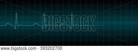 Vector Cardiogram Or Pulse On A Dark Background. Heart Beats Cardiogram Electrocardiogram. Vector Il