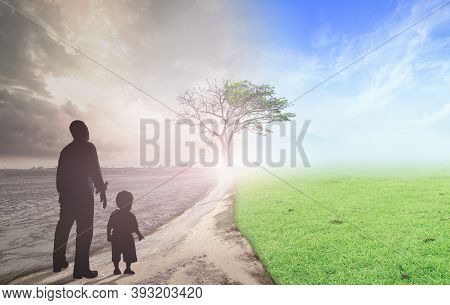 Father And Child Standing Between Climate Worsened With Good Atmosphere
