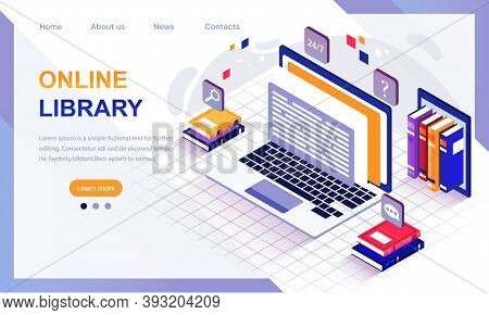 Concept Of Digital Online Library. Laptop Computer With E-books. Media Library Isometric Vector For