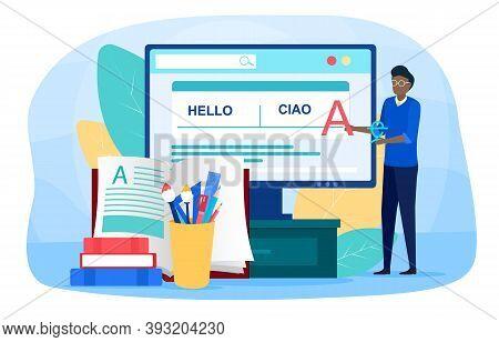 Translator And Translation Online Service Or Platform. Polyglot Translating Document, Books And Spea