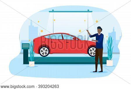 Salesman Showing New Model Of Car In Car Showroom. Presentation Of New Car. Dealership. Cartoon Flat