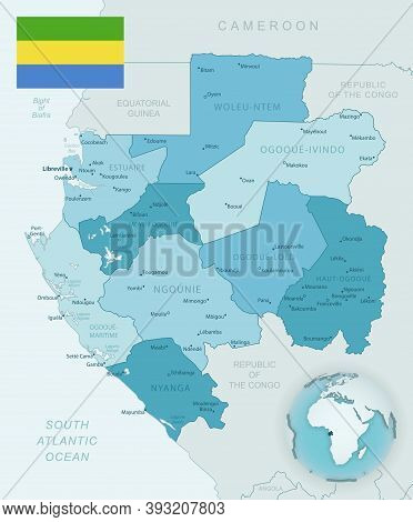Blue-green Detailed Map Of Gabon Administrative Divisions With Country Flag And Location On The Glob
