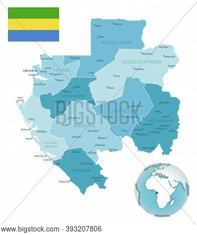 Gabon Administrative Blue-green Map With Country Flag And Location On A Globe.