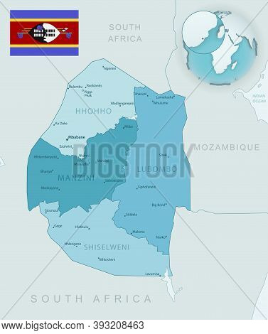 Blue-green Detailed Map Of Eswatini Administrative Divisions With Country Flag And Location On The G
