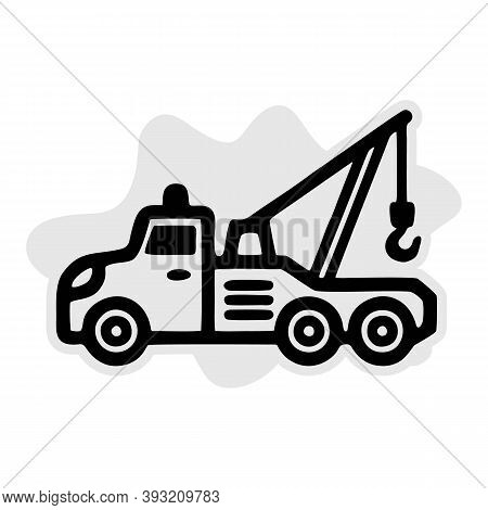 Tow Truck Line Icon, Transport And Vehicle, Service Sign Vector Graphics, A Linear Pattern On A Whit
