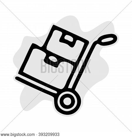 Hand Truck With Cardboard Boxes Line Amd Glyph Icon, Logistic And Delivery, Hand Dolly Sign Vector G