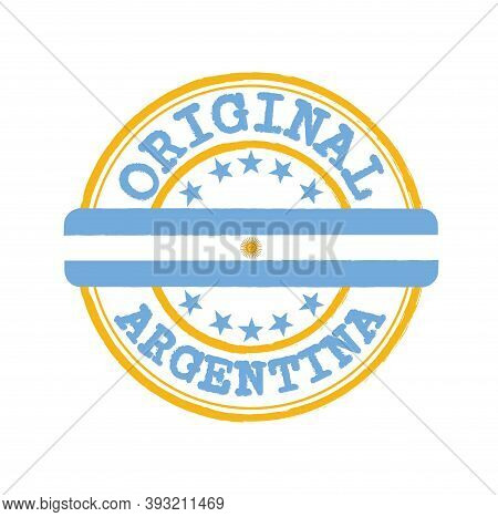Vector Stamp Of Original Logo With Text Argentina And Tying In The Middle With Nation Flag. Grunge R