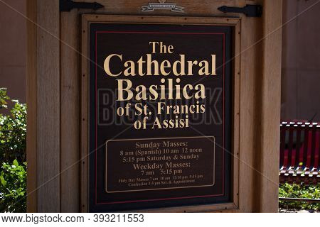 Santa Fe,  New Mexico / Usa - October 2, 2014:  A Beautifully Crafted Wood And Metal Sign For The Ca