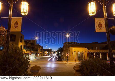 Santa Fe,  New Mexico / Usa - October 2, 2014:  The Intersection Of E. San Francisco Street And Cath