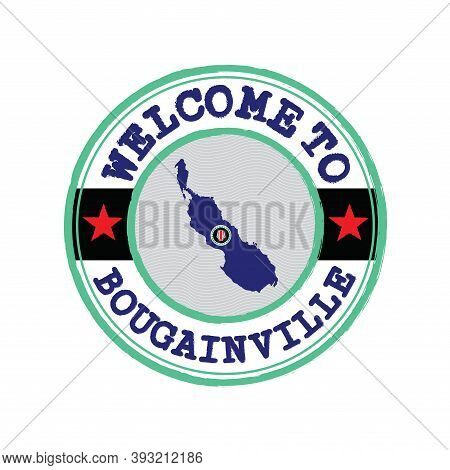 vector Stamp Of Welcome To Bougainville With Map Outline Of The Country In Center. Red And White U