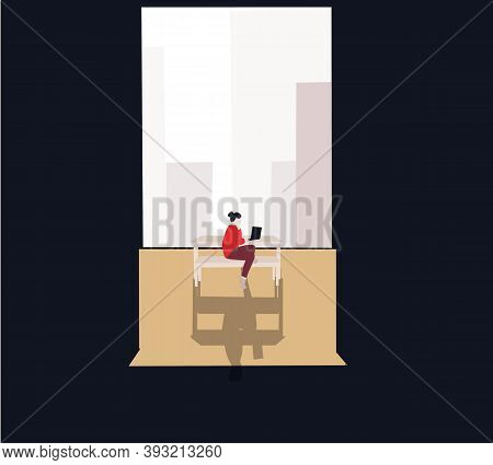Woman Working At Home Office In Her Apartment. A Lot Of Work, Overworked, Stress, Office Routine ,ho