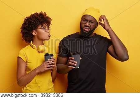 Dejected Unshaven Man With Black Skin Tells About His Problem To Close Friend, Have Coffee Together.