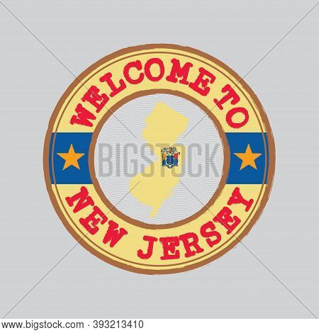 Vector Stamp Of Welcome To New Jersey With Map Outline Of The States In Center. The States Of Americ
