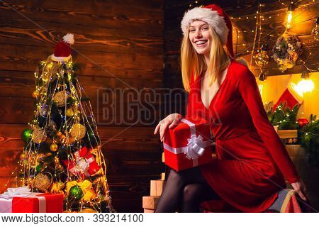 Celebrate Christmas. Cheerful Lady In Dress Corporate Christmas Party. Happy New Year Party. Woman E
