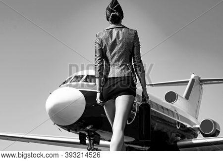 Profession Stewardess. Air Hostess. Female Flight Attendant. Air Stewardess. Travel Concept. Commerc
