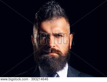 Business Style. Confident And Successful Face Closeup. Handsome Young Man In A Business Suit. Elegan