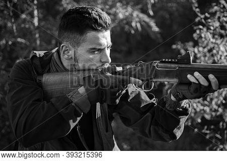 Hunter With Shotgun Gun On Hunt. Autumn Hunting Season. Autunm Hunting. Hunting Without Borders. Gun