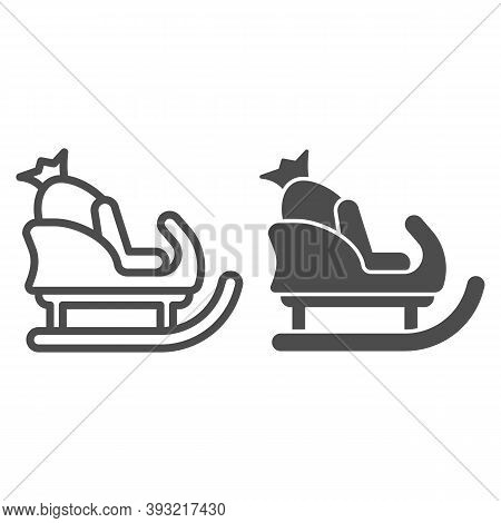 Sleigh With Bag Of Gifts Line And Solid Icon, Christmas Concept, Santa Sleigh Sign On White Backgrou
