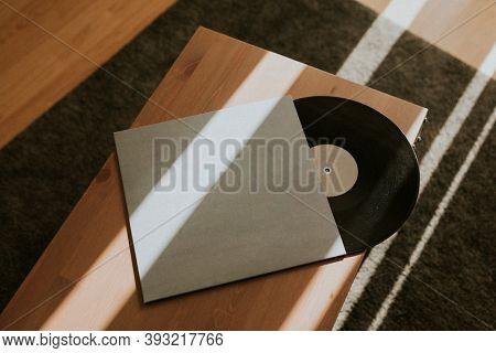 Black retro vinyl record design element