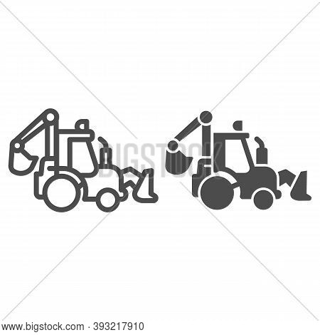 Tractor With Bucket Line And Solid Icon, Heavy Equipment Concept, Backhoe Sign On White Background,