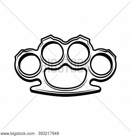 Knuckle Duster Vector Illustration. Metal Brass Knuckle For Fist. Street Fight Or Criminal Weapon Co