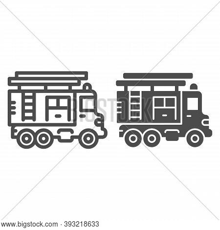 Fire Truck With Ladder Line And Solid Icon, Heavy Equipment Concept, Firetruck Sign On White Backgro