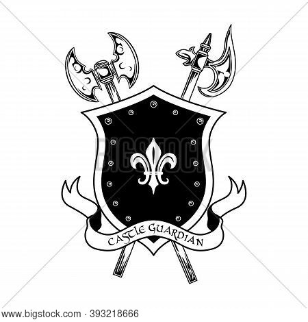 Medieval Warriors Weapon Vector Illustration. Crossed Axes, Shield And Castle Guardian Text. Guard A