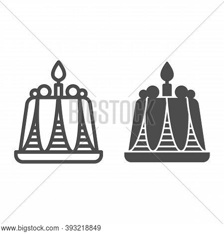 Pudding With Candle Line And Solid Icon, Bakery Concept, Birthday Cupcake Sign On White Background,