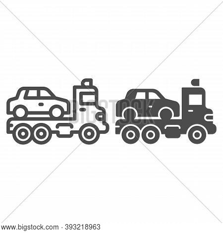 Tow Truck With Car Line And Solid Icon, Heavy Equipment Concept, Evacuator Car Sign On White Backgro