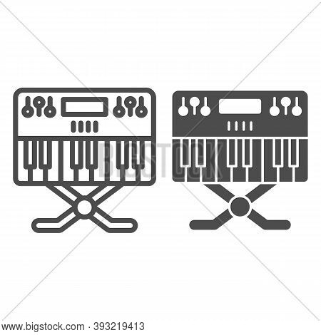 Synthesizer Line And Solid Icon, Sound Design Concept, Synth Sign On White Background, Music Synthes